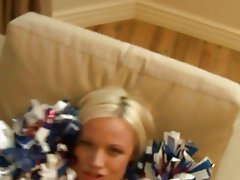 Jasmine Jolie amateur blonde cheerleader girlfriend with big ass doing blowjob and gets pussy fucked