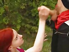 Redhead girl gets fucked in Public