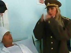 Military girl comes on a gyno exam