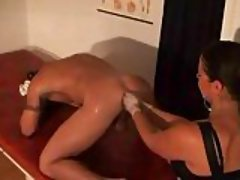 Mature slut fucks dude asshole with strapon