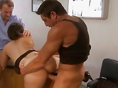 Busty brunette with shaved pussy gets fucked while sucking dick