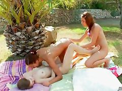 Three nymphs playing outdoor