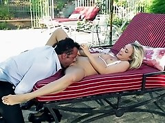 A wild daring couple on vacation fucks outdoors by the pool