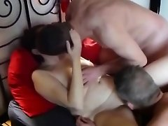 Blindfolded Mature Woman In A Foursome