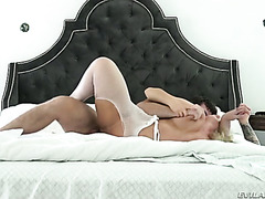 Yummy blond MILF in sexy white stockings Ryan Conner gets banged in sideways style tough
