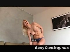 Casting Blondie gets spunk all over her shaved pussy