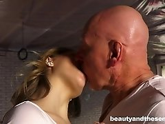 Cute girl allows the bald instructor to penetrate her vaginal depths