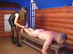 Stella decides to punish her mature slave in a naughty way