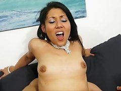 Slutty Asian MILF and her busty blond pal satisfy horny guys in cowgirl pose