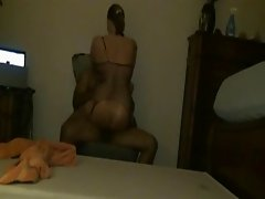 Hot girlfriend rides boyfriend on a chair