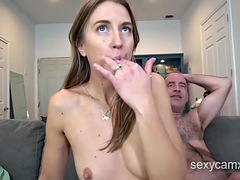 Horny MILF bouncing on dick and get mouth filled with cum live at sexycamx.com