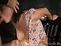 Sitting on the chair submissive tied up brunette gets mouthfucked