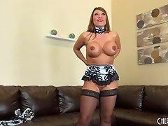 For her hot cam show Ava Devine dresses like a maid