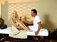 Amazing women on special massage bed