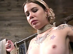 Hogtied tattooed bitch Krysta Kaos gets hung up above the floor