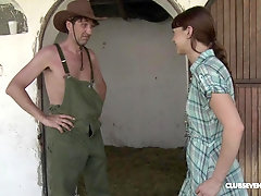 Brunette country girl Liz Valery gets cum in mouth after a hard fuck