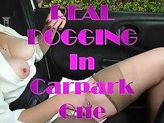 Bodacious mature lady in stockings masturbates in the car