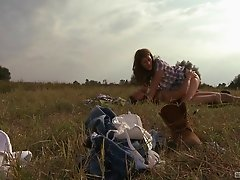 Farmer babe finally has a chance to experience the anal penetration
