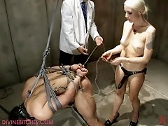 Hot bondage Treesome With a Sexy Blonde Slave