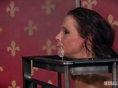 Bound milf Syren De Mer mouth fucked by master and mistress