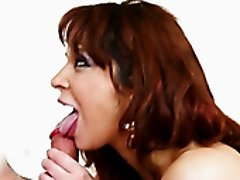 Hot like fire ginger mommy swallows big thick sausage with passion