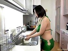 Busty Japanese MILF babe Tsukada Shiori fucked hard in the kitchen