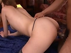 Slim Japanese girl is in ecstasy while being fucked in a threesome