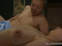 Amazing matured dame with natural tits moaning while her hairy pussy is drilled hardcore missionary