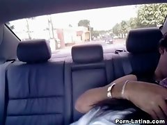 Spoiled amateur brunette chick agrees to suck tasty lollicock in car