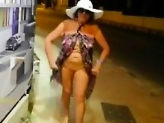 Granny Teasing Her Body Outdoors At Night