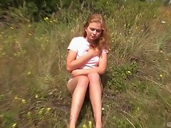 Wild grassland is a great place for her to play with the slit