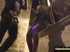Alluring euro beauty strokes cops cock