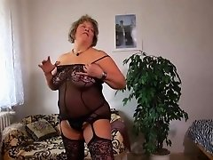 Old mature woman and young horny girl masturbate together