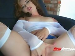 Curly haired sweet bitch Marissa Jayden bangs her pinkish kitty with big sex toy rough