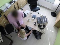LOAN4K. Blonde-haired miss gets sissy banged hard in loan...
