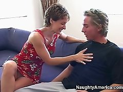 Sexy chick Cori Gates gives blwojob to her son's friend