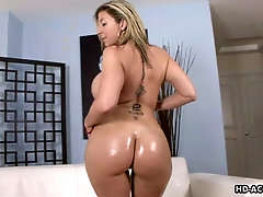 Oiled nice ass Sara Jay smashed doggystyle in interracial porn