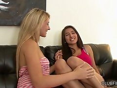 Lesbians Lilly Banks and Megan Salinas feel up each others tits