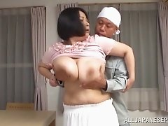Mature BBW Misuzu Tomizaw gives blowjob and gets pussy boned