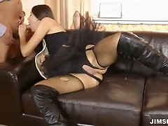Long haired miss moaning in pleasure as her cunt is drilled missionary