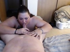 BBW sucking cock and getting rubbed