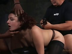 Big booty slave banged while giving out blowjob in BDSM porn
