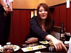 Threesome at a Japanese restaurant with a busty beauty