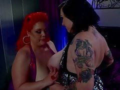 Flaming bbw with big tits enjoys getting her shaved pussy fingered then jammed with a toy
