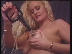 Euro MILF uses suction toys on her sensitive nipples