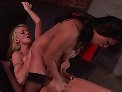 Sunny Leone and Monica Mayhem dildo fucking after cunt licking