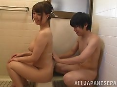 Adorable Japanese pornstar gets her face fucked in the bathroom after bathing