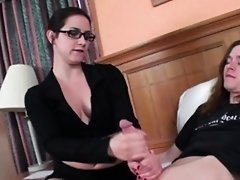 Stepmom tugging stepson cock