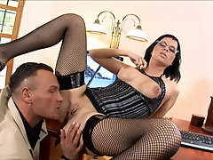Naughty secretary Renata Black takes a facial cum shot in the office