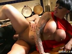 Freaky boy fucks mega busty brunette cougar in sideways pose hard